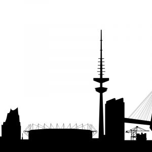 Glas Motiv Skyline Hamburg