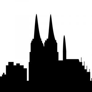 Glas Motiv Skyline Köln