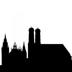 Glas Motiv Skyline München