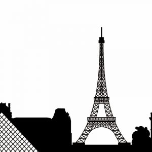 Glas Motiv Skyline Paris
